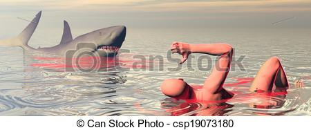 Shark Attack   3d Render   Csp19073180