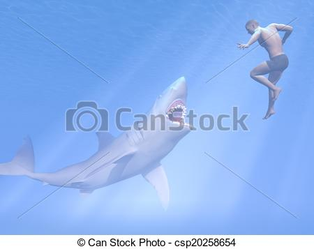 Stock Illustrations Of Shark Attack   3d Render   Underwater Shark