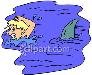 Swimming And Being Chased By A Shark Royalty Free Clipart Picture