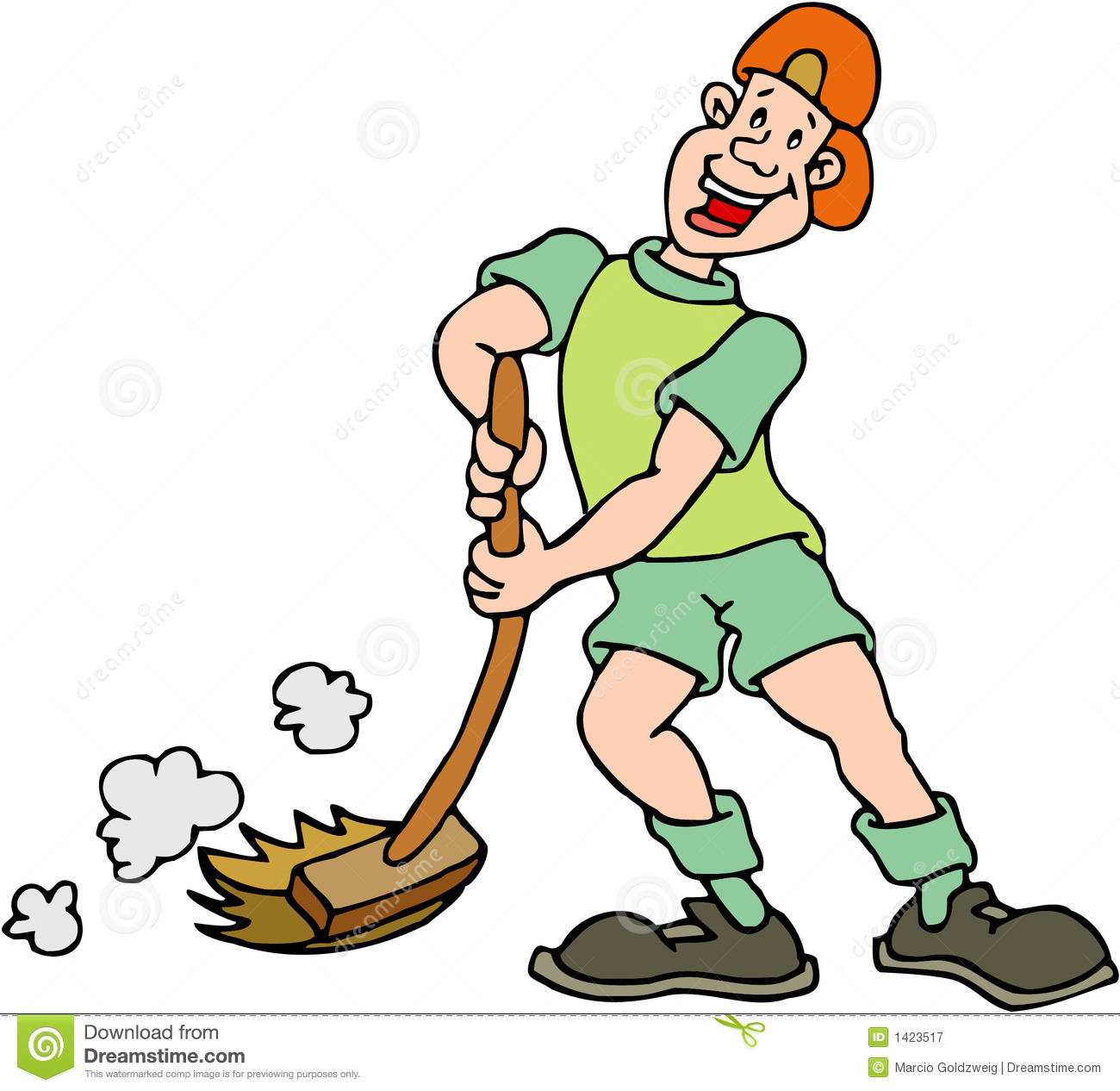 Boy Sweeping Royalty Free Stock Photography   Image  1423517