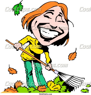 Cartoon Lady Raking Leaves   Funny Pictures Funny Images