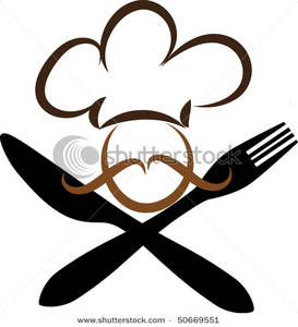 Chef With Knife And Fork   Clipart