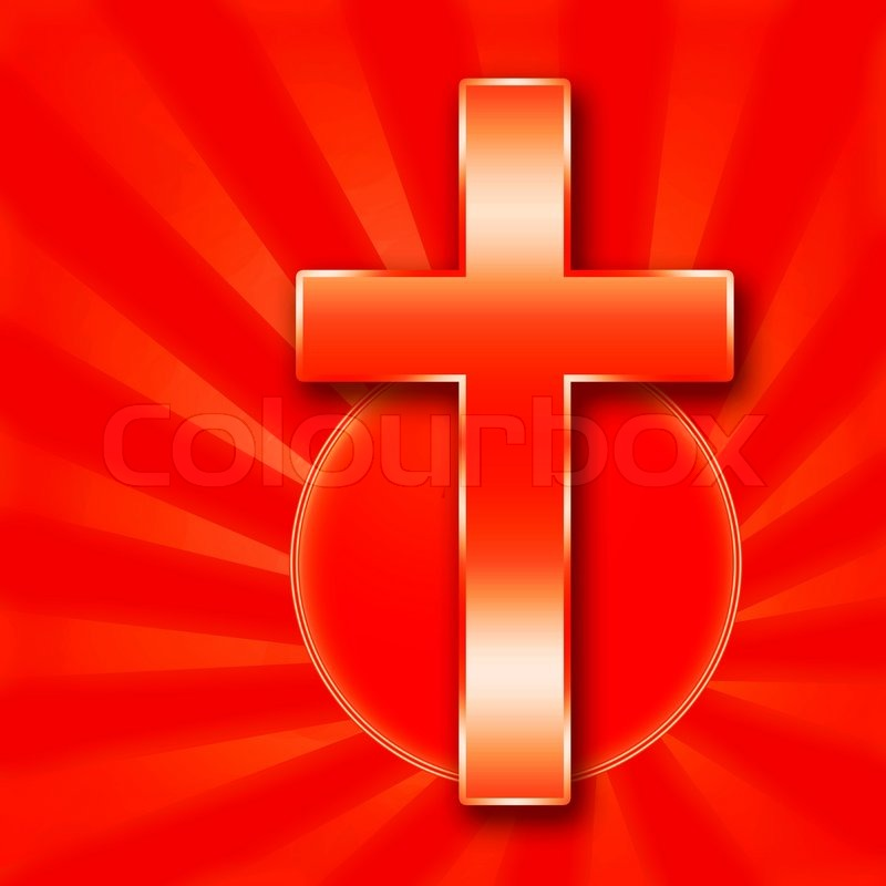Christian Holy Cross Illustration On Red Background   Stock Photo