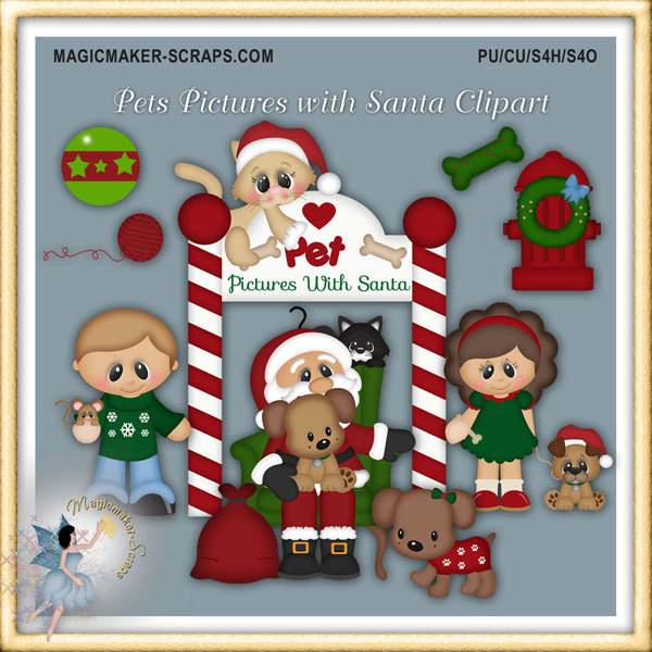 Christmas Clipart Holiday Pet S Picture With By Magicmakerscraps