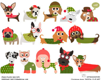 Christmas Dog Digital Clip Art Part 1 For Personal And Commercial Use