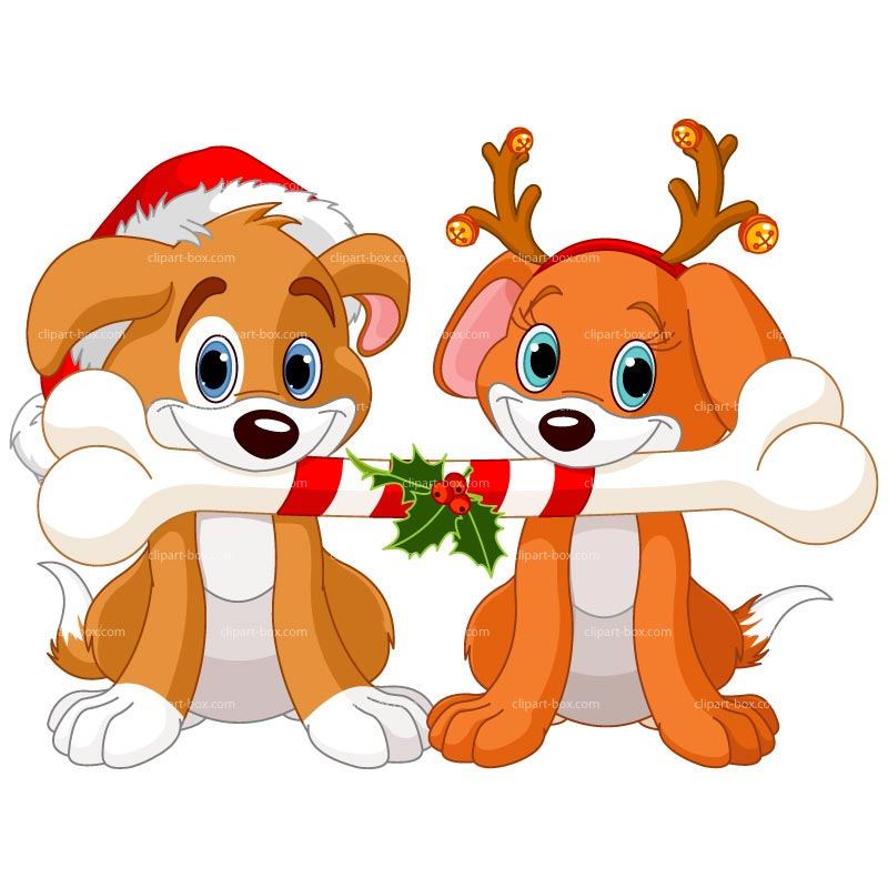 Clipart Christmas Dogs Sharing Bone   Royalty Free Vector Design