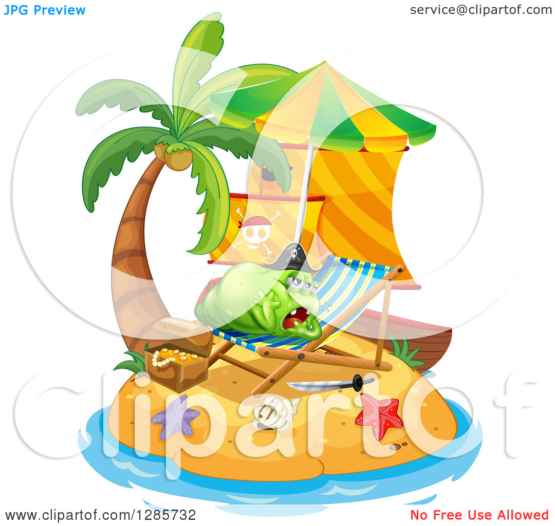 Clipart Of A Lazy Green Pirate Monster Resting On A Chair On An Island