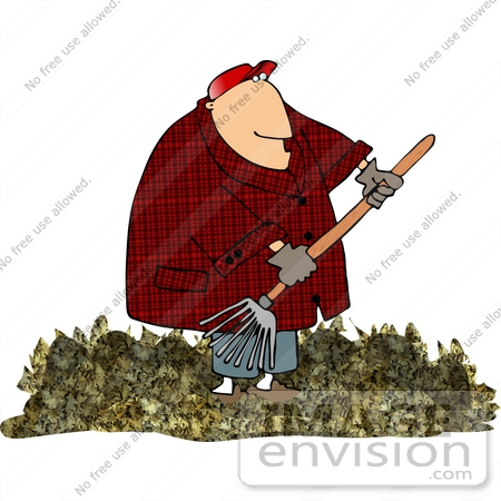 Clipart Of A Middle Aged Caucasian Man In A Red Hat Red Plaid Jacket