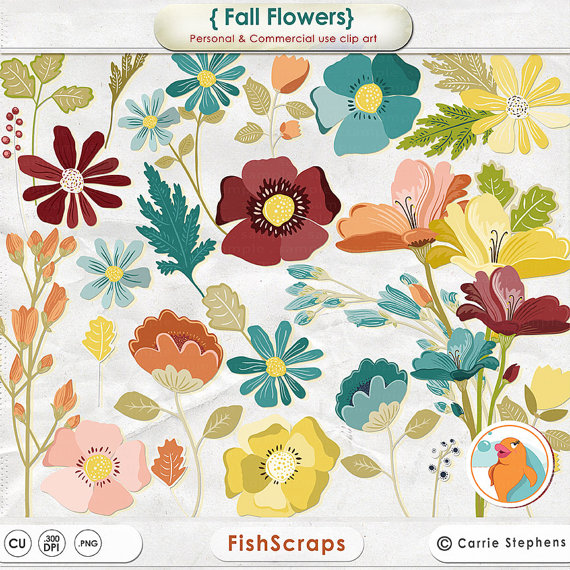 Fall Flowers Clipart Create Flower Arrangements Digital Floral Clip