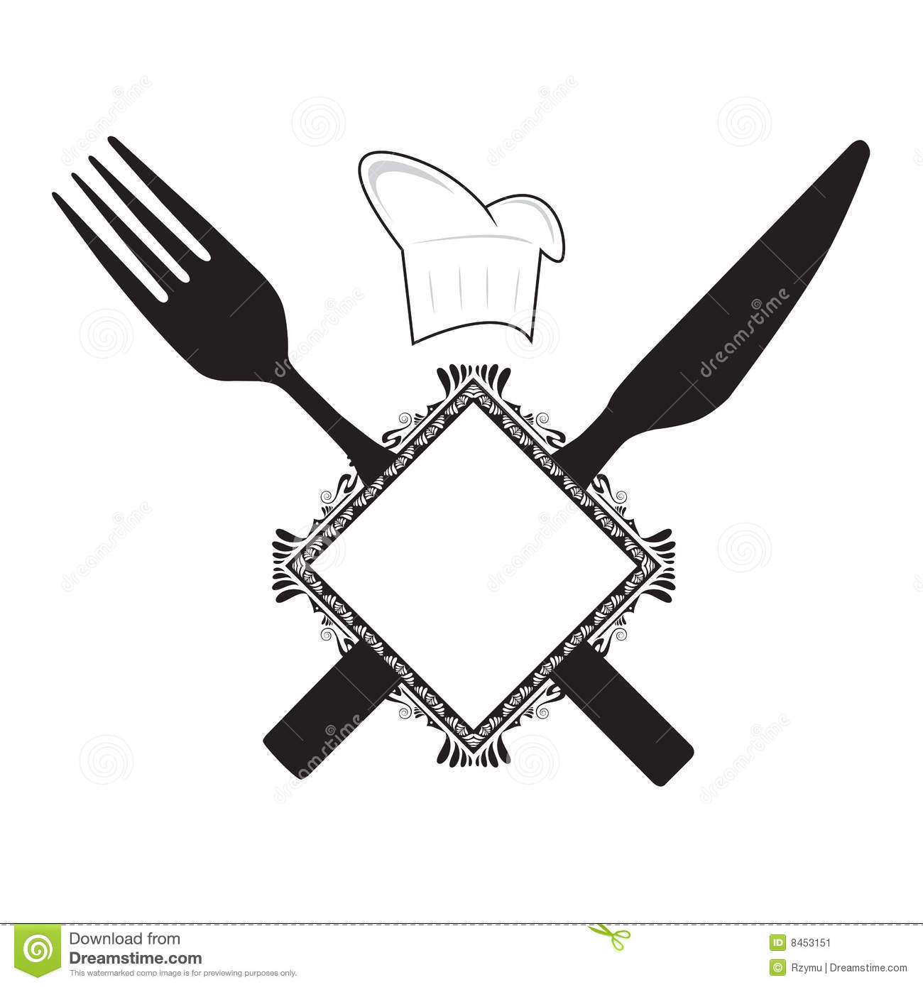 Fork Knife And Chef Hat Stock Image   Image  8453151