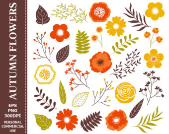 Get 1 Free  Digital Autumn Flowers Clip Art   Leaves Flowers Fall