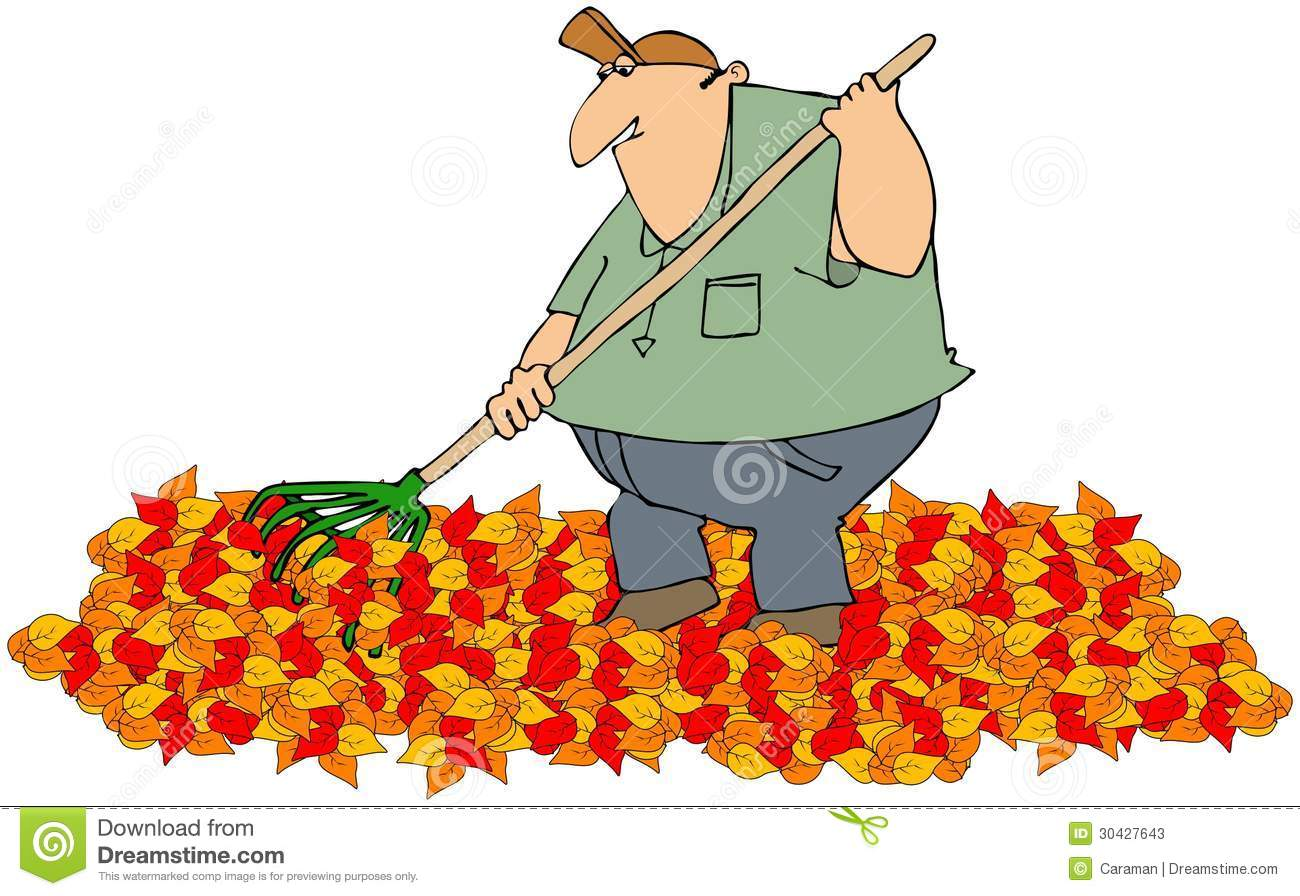 Illustration Depicts A Man Raking A Pile Of Colorful Autumn Leaves