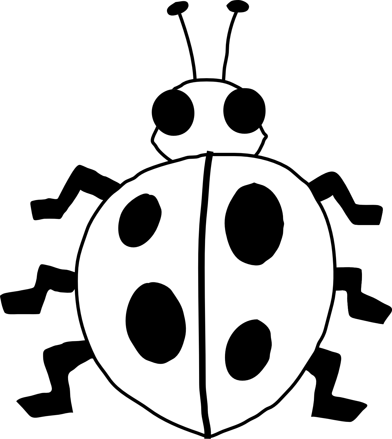 Ladybug 21 Black White Line Art Flower Scalable Vector Graphics Svg