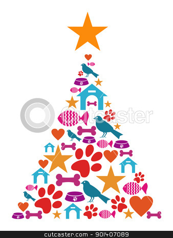 Pet Cate Christmas Tree Stock Vector Clipart Christmas Tree Shape