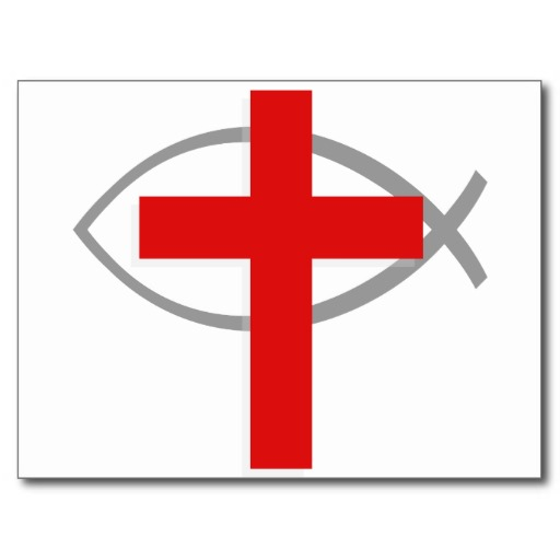 Red Christian Cross With The Jesus Fish Ichthys Postcard From Zazzle