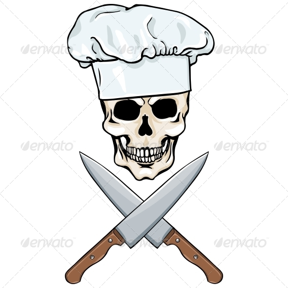 Skull Chef And Crossed Knives   Halloween Seasons Holidays
