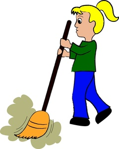 Sweeping Clipart Image   Little Girl Sweeping