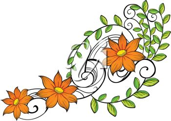 This Beautiful Orange Flowers On A Vine Clip Art Image Is Available