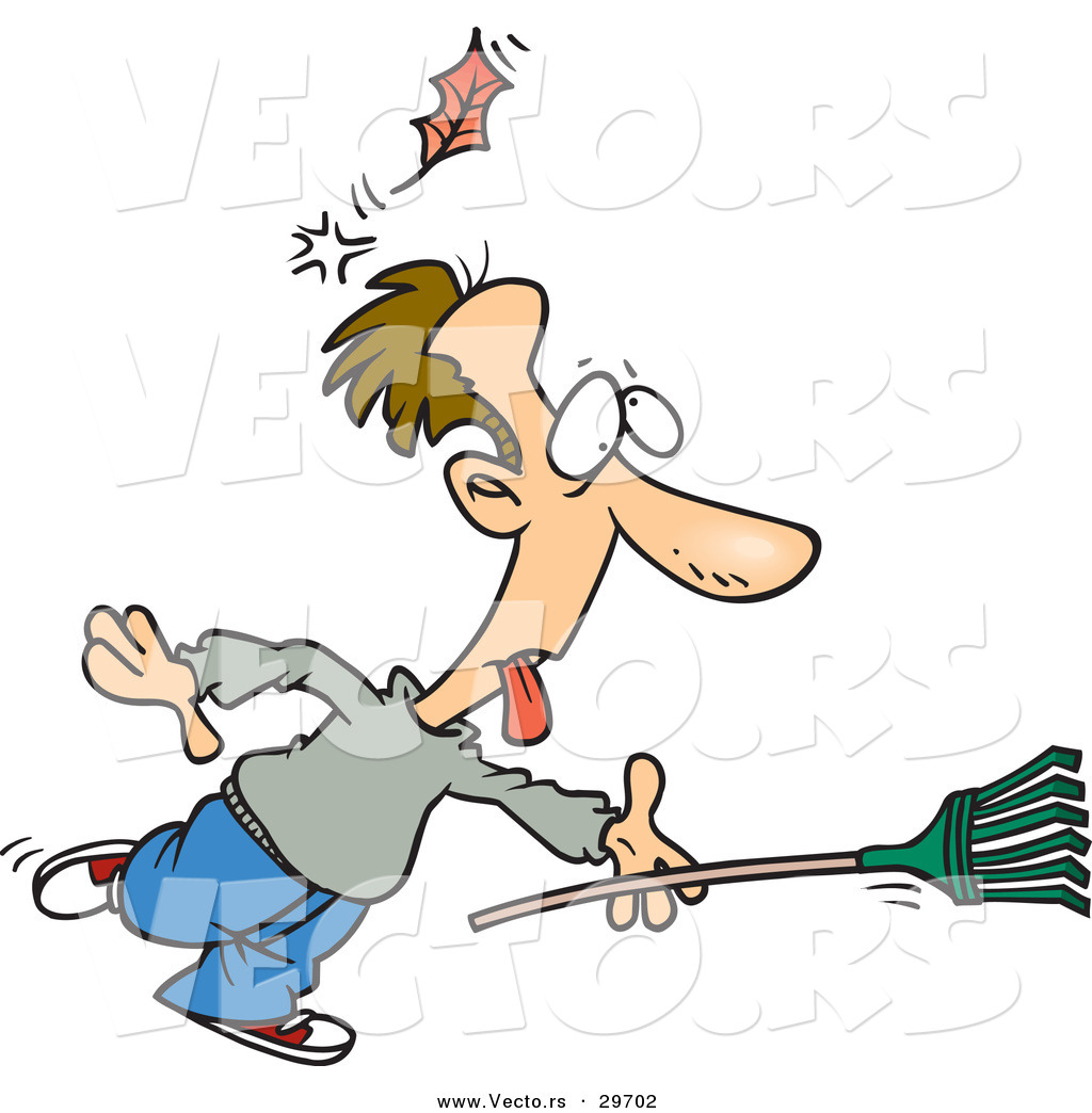 Vector Of A Funny Cartoon Man Running With A Rake While Getting