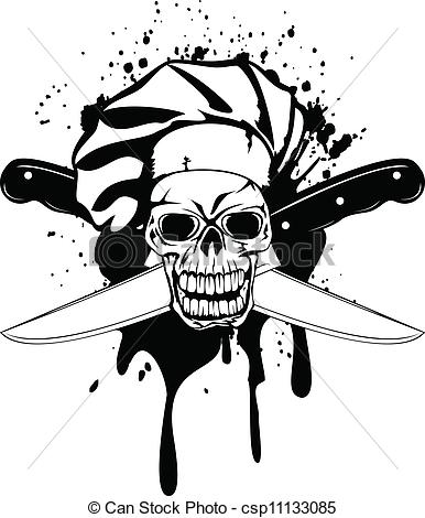 Vector Of Skull In Toque And Crossed Knifes   Vector Illustration