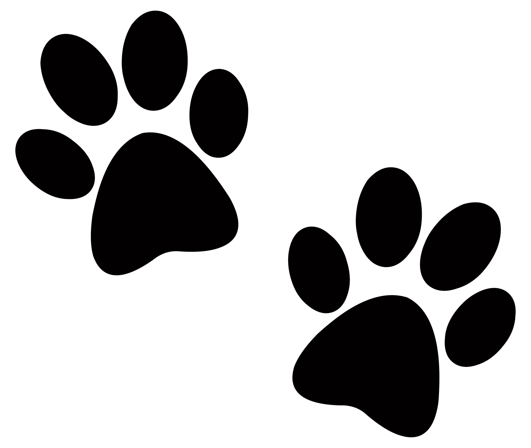 Paw Print Black And White Clipart - Clipart Kid