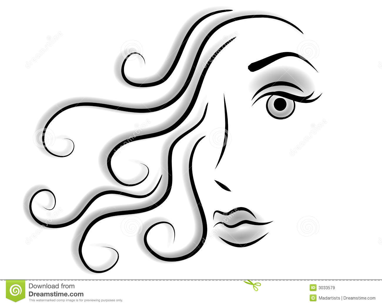Clip Art Illustration In Black And White Of The Face Of A Woman With