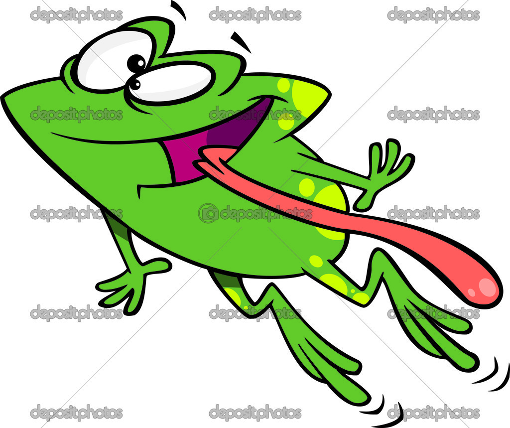 Clipart Green Happy Frog Leaping With His Tongue Hanging Out   Stock
