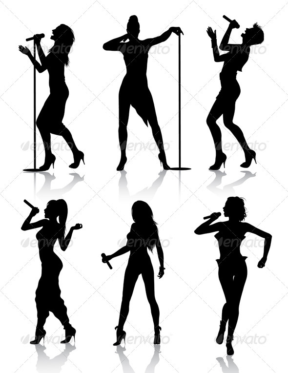Female Singers Silhouette Set Isolated On White Background File