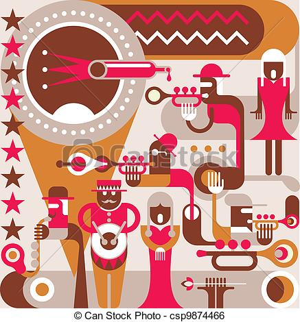 Jazz Orchestra   Vector Illustration  A Singing Woman And A Jazz Band