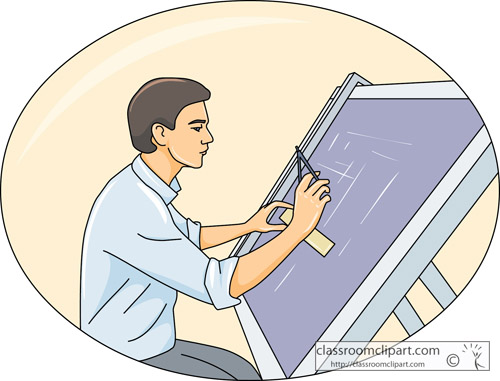 Occupation   Drafter Using Drafting Board   Classroom Clipart