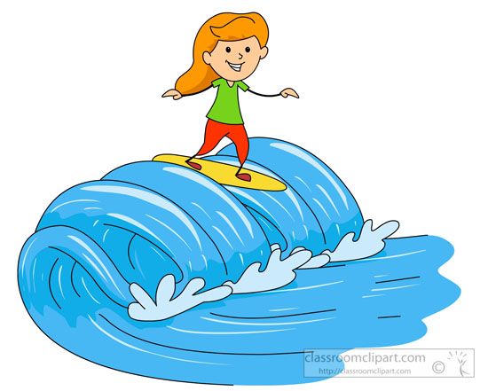 Surfing Clipart   Girl On Surf Board Catching Large Wave Clipart 41215