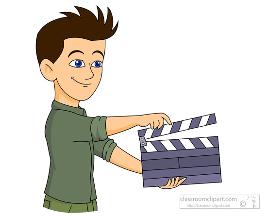 Theatre   Student With A Movie Clap Board Clipart   Classroom Clipart
