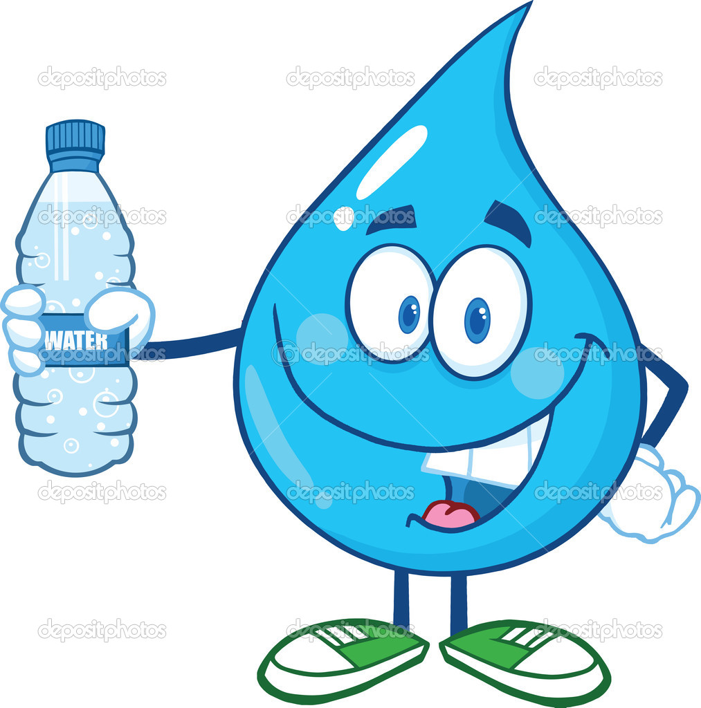 29806089 Water Drop Character Holding Up A Water Bottle Jpg
