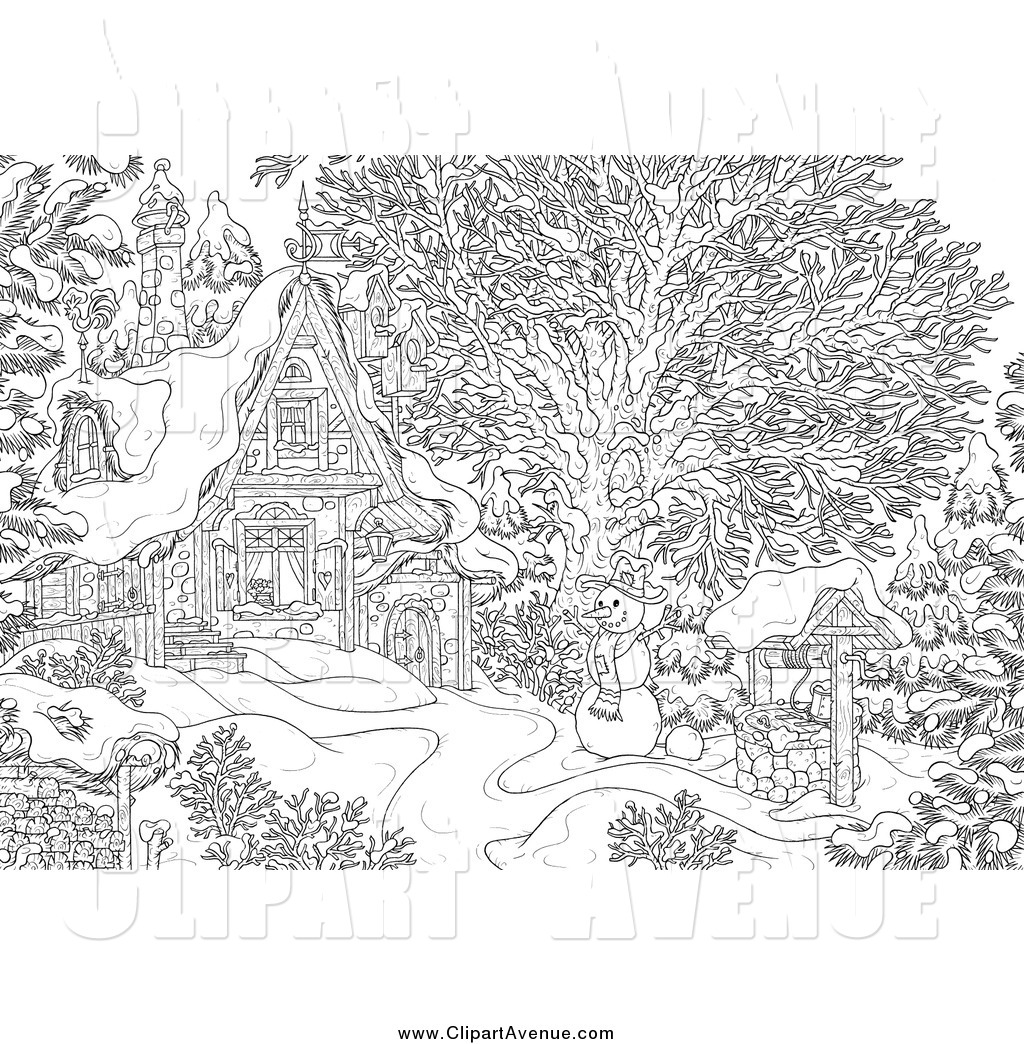 Avenue Clipart Of A Black And White Winter Snowman Near A Cottage By