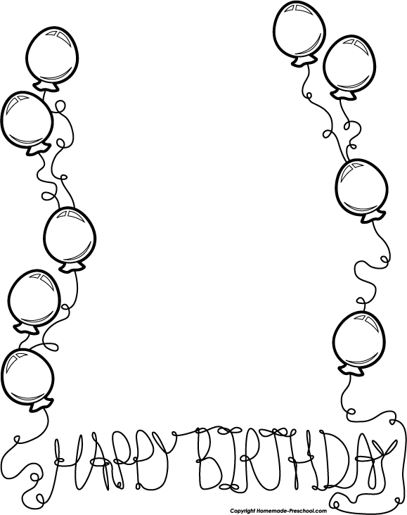Black And White Birthday Clip Art Borders