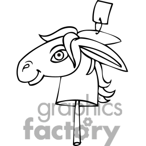 Black And White Clip Art Of A Democratic Donkey On A Stick Clipart