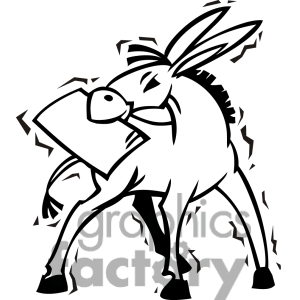 Black And White Democrat Donkey In A Trash Can