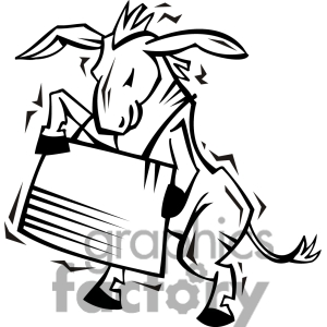 Black And White Democrat Image Of A Donkey Holding A Sign