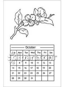 Black And White October Calendar With Flowers   Royalty Free Clipart