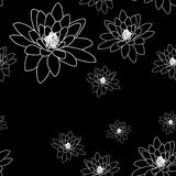 Black And White Seamless Pattern With Magnolia Flowers  Royalty Free