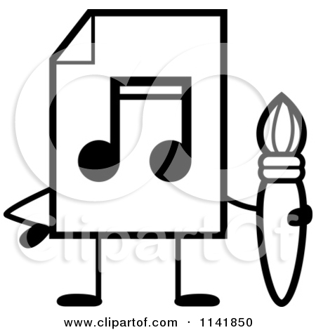 Cartoon Clipart Of A Black And White Mp3 Music Document Mascot Holding