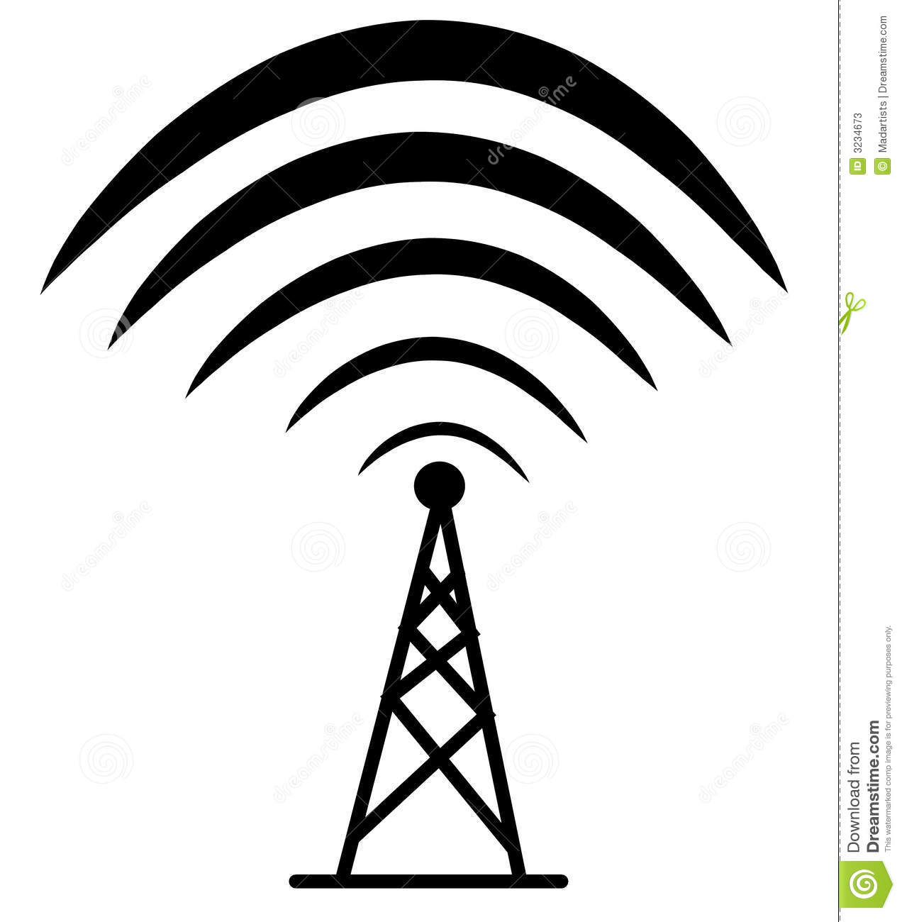 Clip Art Illustration Of A Wireless Technology Tower In Simple Black
