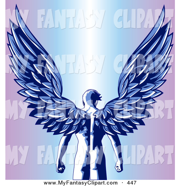 Clip Art Of A Strong Nude Male Guardian Angel As Seen From Behind