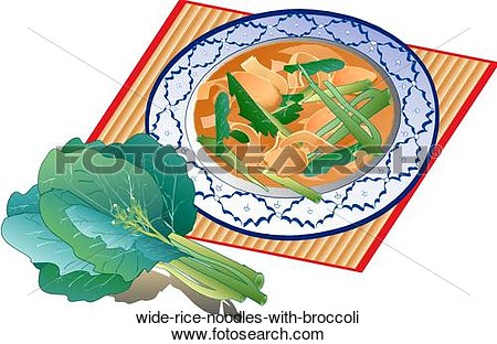 Clip Art Of Wide Rice Noodles With Broccoli Wide Rice Noodles With