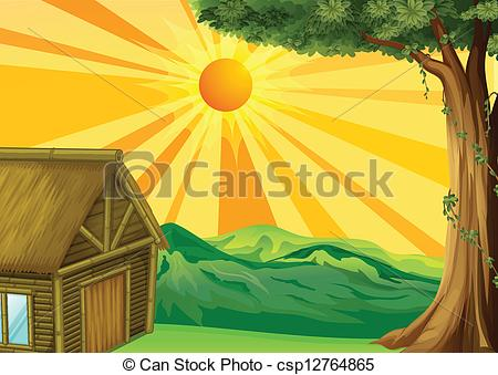 Clip Art Vector Of A Nipa Hut And The Sunset   Illustration Of A Nipa