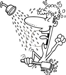 Clipart Image Of Coloring Page Of A Man Singing In The Shower