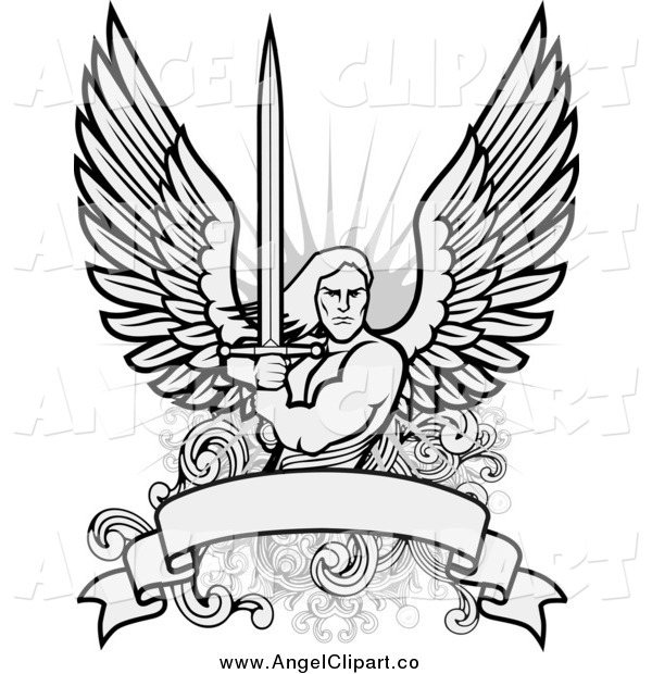 Clipart Male Angel Warrior Holding A Sword Over A Blank Banner   Hd