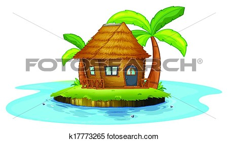 Clipart Of An Island With A Small Nipa Hut K17773265   Search Clip Art