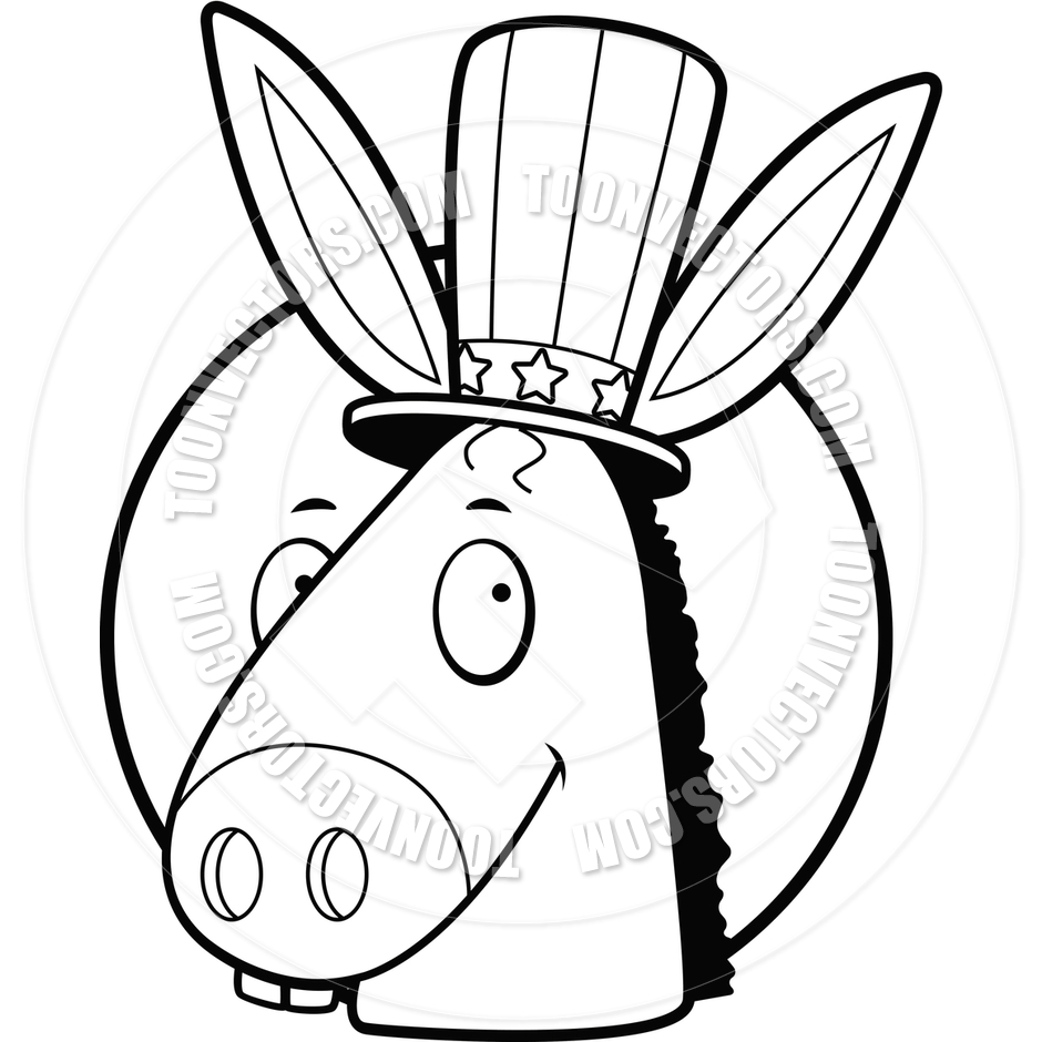 Democrat Donkey  Black And White Line Art  By Cory Thoman   Toon