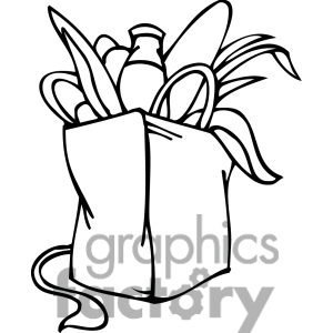 Free Black And White Clip Art Of A Democrat Bag Of Groceries Clipart